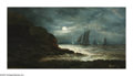 Paintings, FREDERICK RONDEL (American 1826-1892). Nocturnal Seascape, 1889. Oil on canvas. 16in. x 30in.. Signed lower right. ...