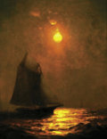 American:Marine, WARREN SHEPPARD (American 1858-1937). Moonlit Sail. Oil oncanvas. 10.25in. x 8.25in.. Signed lower right. ...