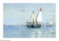 American:Marine, WILLIAM STANLEY HASELTINE (American 1835-1900). Fishing Boats,Venice. Watercolor and gouache on paper. 19in. x 26in.. S...