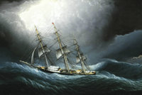 JAMES EDWARD BUTTERSWORTH (American 1817-1894) Clipper Ship At Cape Horn 8in. x 12in. Oil on board Signed lower righ