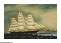 CHINA TRADE (19th Century) Tall Ship Aurora1853 Oil on canvas 26in.x 41in. Plate of frame inscribed: Ship Aurora