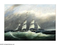 American:Marine, Attributed to CLEMENT DREW (American 1809-1893). Sailing Aheadof a Gale. Oil on canvas. 22in.x 30in.. ...