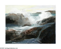 19th Century European:Landscape, KONSTANTIN ALEKSANDROVICH WESCHILOFF (Russian 1877-1945).Crashing Waves. Oil on canvasboard. 21.5in x 27.5in.. Signedl...