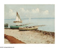 Impressionism & Modernism:European Impressionism, EDWARD SEAGO (British 1910-1974). Boats Along the Shoreline.Oil on canvas. 14in.x 18in.. Signed lower left. ...