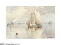 HENDRICKS A HALLETT (American 1847-1921) Sailing Into Harbor Watercolor on paper 11in. x 16in. Signed lower right