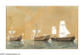 19th Century European:Landscape, ENGLISH SCHOOL (18th Century). Ships of the Line After Battle. Gouache on paper. 16in. x 27in.. Signed lower right 'W Po...