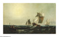 19th Century European:Landscape, GEORG SCHMITZ (German 1851-1917). Harbor Scene, Hamburg. Oilon canvas. 30in.x 48in.. ...