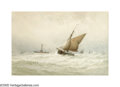 19th Century European:Landscape, GEORGE STANFIELD WALTERS (British 1838-1924). Seascape.Watercolor on paper. 13in.x 19.75in. Signed lower right. ...