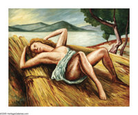ANDRE DUNOYER de SEGONZAC (French 1884-1974) Reclining Nude Oil on canvas 23.5in. x 28.75in. Signed lower right