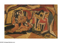 Attributed to FERNAND LEGER (French 1881-1955) Cubist Composition with Figure Oil on paperboard 5in. x 7.75in. Signe