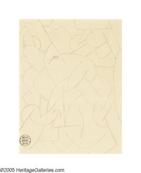 RUDOLF BAUER (German 1889-1953) Abstract Composition Pencil on paper 8.25in. x 6.25in. Estate stamp lower left
