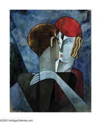 AUREL RICHTER (Hungarian 1870-1957) Cubist Couple Oil on canvas 32in.x 25.5in. Signed lower left