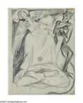 Impressionism & Modernism:Surrealism, NATALIA SERGEEVNA GONCHAROVA (Russian 1881-1962). L'Ange at leDiable. Pencil on paper. 7.5in. x 5.75in.. Illustrated: A...