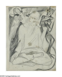 NATALIA SERGEEVNA GONCHAROVA (Russian 1881-1962) L'Ange at le Diable Pencil on paper 7.5in. x 5.75in. Illustrated: A