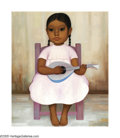 Latin American:Early 20th Century, GUSTAVO MONTOYA (Mexican b. 1905). Girl with a Guitar. Oilon canvas. 21.75in. x 17.75in.. Signed lower right. Exhibited...