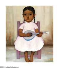 GUSTAVO MONTOYA (Mexican b. 1905) Girl with a Guitar Oil on canvas 21.75in. x 17.75in. Signed lower right Exhibited
