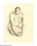 Latin American:Early 20th Century, FRANCESCO ZUNIGA (Mexican 1912-1998). Desnudo de Rodillas,1964. Charcoal and crayon on paper. 26in.x 20in.. Signed and ...