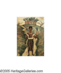 Latin American:Early 20th Century, DIEGO RIVERA (Mexican 1886-1957). Girl with Pineapples,1935. Watercolor on paper. 15in.x 10.75in.. Signed and dated low...