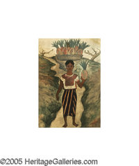DIEGO RIVERA (Mexican 1886-1957) Girl with Pineapples, 1935 Watercolor on paper 15in.x 10.75in. Signed and dated low