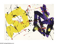 SAM FRANCIS (American 1923-1994) Untitled, 1980 Acrylic (liquitex magna) on paper 14in.x 19.5in. Signed and inscribe