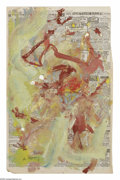 Post-War & Contemporary:Abstract Expressionism, WILLEM de KOONING (American 1904-1997). Untitiled (Yellow),1973. Oil on newspaper. 22.5in.x 14.5in.. Signed lower left