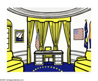 ROY LICHTENSTEIN (American 1923-1997) Oval Office, 1992 Silkscreen on paper 29.5in.x 39in. Signed, dated and numbere