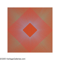 RICHARD JOSEPH ANUSKIEWICZ (American b. 1930) Orange Geometric Composition, 1978 Colored Lithograph 27.5in.x 27.5in.&...