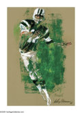 Illustration:Magazine, LEROY NEIMAN (American b.1926) . Joe Namath, 1968 .Mixed-media on paper . 33in. x 26in. . Signed lower right: LeroyNei...