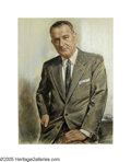 Original Illustration Art:Mainstream Illustration, Louis Lupas - Original Painting (1963-1969).. Portrait of 36th U.S.President Lyndon Baines Johnson, drawn from life!.. Past...