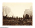 Photographs:19th Century, CARLETON WATKINS (American 1829-1916) . View of Valley,Yosemite, No. 9 . Albumen print . 16in. x 20.5in. . Inscribedwi...