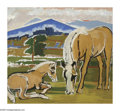 Impressionism & Modernism:European Impressionism, HILDEGARD RATH (American 1909-1994). Horses in Field, 1951.Oil on canvas. 42in. x 46in.. Signed lower right. Inscribed ...