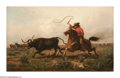 American:Western, JOHN N. HESS (American 19th Century). Chasing Longhorns, 1879. Oil on canvas. 16in.x 26in.. Signed lower left. ...