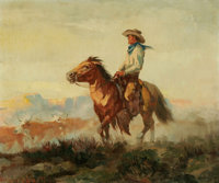 OLAF WIEGHORST (American 1899-1988) Driving the Herd Oil on canvas 20in.x 24in. Signed lower left