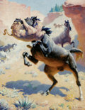 American:Western, WILLIAM ROBINSON LEIGH (American 1866-1955). The Killer. Oilon canvas. 27.5in. x 21.5in.. Signed lower right. Inscrib...