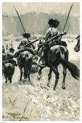 Paintings, FREDERIC SACKRIDER REMINGTON (American 1861-1909). Cavalry Dragoons. Oil on canvasboard. Signed lower right. Inscribed l... (Total: 1 Item Item)