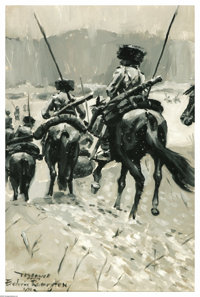 FREDERIC SACKRIDER REMINGTON (American 1861-1909) Cavalry Dragoons Oil on canvasboard Signed lower right Inscribed l