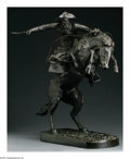 Sculpture, FREDERIC SACKRIDER REMINGTON (American 1861-1909). Bronco Buster. Bronze. 22.75in. tall. Signed on base. Roman Bronze Wo...