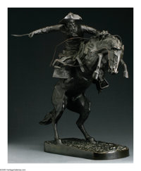 FREDERIC SACKRIDER REMINGTON (American 1861-1909) Bronco Buster Bronze 22.75in. tall Signed on base Roman Bronze Wo