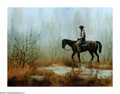American:Western, MARTIN GRELLE (American b. 1954). Caught in a Storm, 1974.Oil on canvas. 18in.x 24in.. Signed and dated lower right. P...