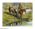 American:Western, JIM C. NORTON (American b. 1953). Reflections,1979. Oil oncanvas. 16in.x 20in.. Signed and dated lower left. Inscribed ...