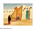 American:Western, LLOYD ALBRIGHT (American 1896-1950). La Siesta. Oil oncanvas. 18in.x 24in.. Signed lower left. ...