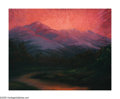 American:Western, LLOYD ALBRIGHT (American 1896-1950). Sunset over theMountains. Oil on board. 24in.x 30in.. Signed lower left. ...