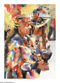 American:Western, GERALD J.FRITZLER (American b.1953). Indian Ceremony.Watercolor on paper. 20in. x 14in.. Signed lower right. ...