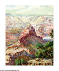 American:Impressionism, MARY HILDA SIDES (American b. 1871). Grand Canyon.Watercolor on paper. 17.5in. x 13.75in.. Signed lower left andlower ...