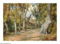Texas:Early Texas Art - Impressionists, ROLLA SIMS TAYLOR (American 1872-1970). Path Through theTrees. Oil on canvas. 10in.x 14in.. Signed lower right. ...