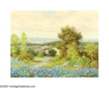 Texas:Early Texas Art - Impressionists, WALTON LEADER (American 1877-1966). Bluebonnets andAutumn (pair). Oil on canvas. 8in.x 10.5in. each. Signedlower r... (Total: 2 Items)