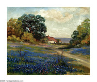 ROBERT WILLIAM WOOD (American 1889-1979) House in Bluebonnet Field Oil on canvas 9in. x 11in. Signed lower left: G