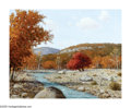 American:Western, PORFIRIO SALINAS (American 1910-1973). Autumn RiverLandscape,1967. Oil on canvas. 16in. x 20in.. Signed and datedlower...