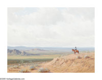 PORFIRIO SALINAS (American 1910-1973) Cowboy on the Plains, 1967 Oil on canvas 12in. x 16in. Signed and dated lower