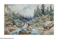 Latin American:pre-20th Century, AUGUST LOHR (German 1843-1919). Mountain Stream, 1896.Watercolor on paper. 11in. x 17in.. Signed lower left. ...
